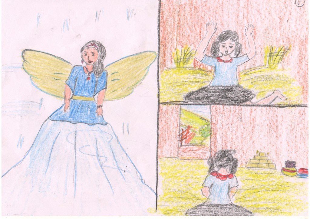 After she left the rewards for Kushi, the fairy godmother disappeared. When Kushi awoke, she saw all the valuable things, but she also saw that the injured goat was gone and she was worried.