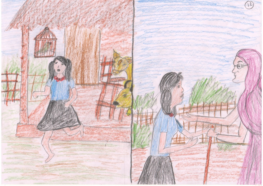 She ran out of the stable, looking for the lost goat. She went to her grandmother and shared what had happened.