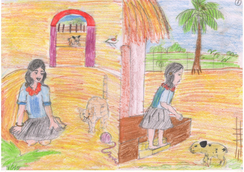 One day, Kushi was playing inside her home when she saw an injured goat outside her door.