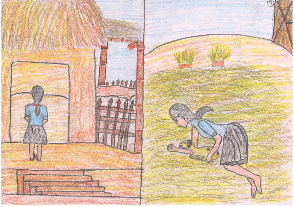 Kushi took the goat to the stable where she slept with it through the night.