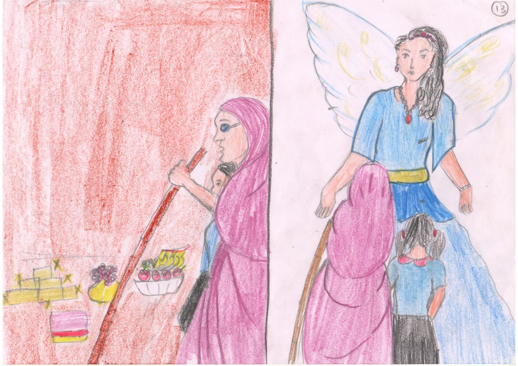 She showed her grandmother the valuable things and told her about the missing goat. All of a sudden, the fairy godmother appeared before them.